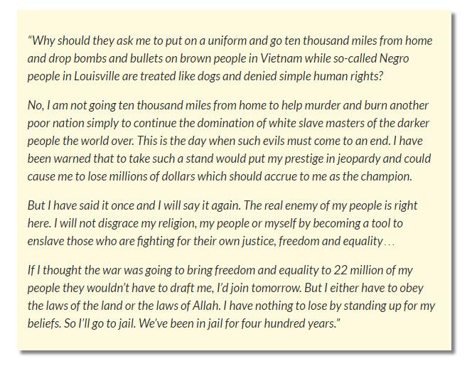 Ali's quote on Vietnam